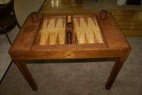 Antique mahogany & leather inlaid backgammon table