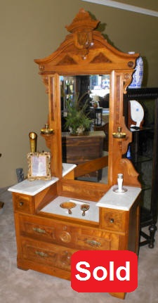 victorian antique princess dresser with marble top