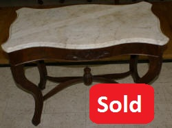 Victorian marble top flower carved parlor table
