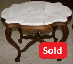 Victiorian solid walnut turtle top marble parlor table