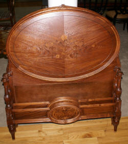pair of Biggs solid mahogany twin beds