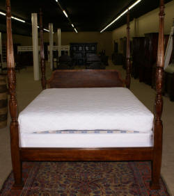 Pair of John Widdecomb banded inlaid mahogany twin sleigh beds