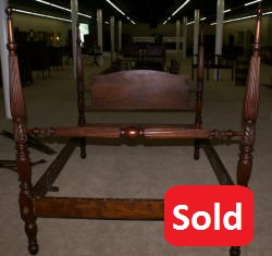 Early 1800s solid mahogany full or Queen antique canopy or rice bed