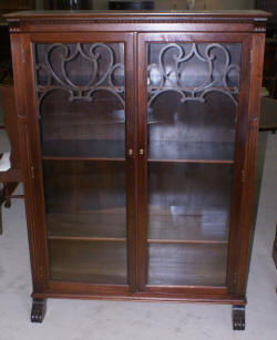 Two door walnut antique bookcase