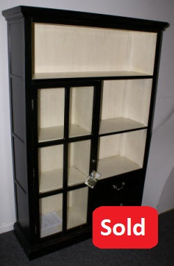 Pulaski furniture company black and white one door / two drawer open  bookcase