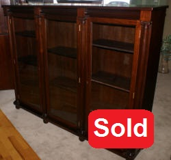 Mahogany antique 1920s triple glass door bookcase