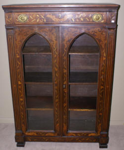 Mahogany Empire Revival  side by side lawyer stack bookcase