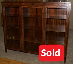 inlaid rosewood antique triple glass door bookcase