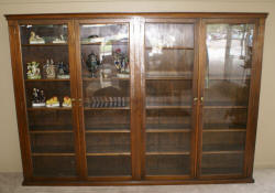 Large oversized walnut glass 4 door 1920s bookcase