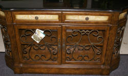 Pulaski Furniture Company granite top / wrought iron credenza