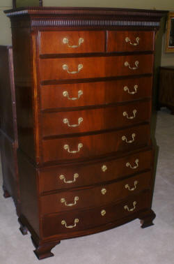 Baker Furniture Company banded inlaid bow front tall chest