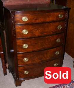 mahogany bow front high chest