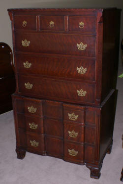Chippendale block front mahogany chest of drawers