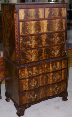 Flame mahogany irwin furniture company high chest