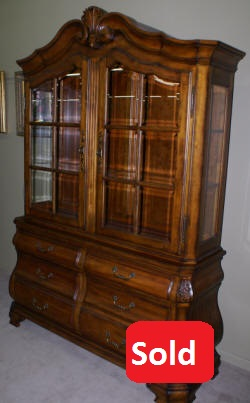 Ethan Allen cherry Bombay style two piece china cabinet