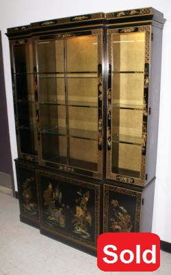 Asian design drexel breakfront china cabinet