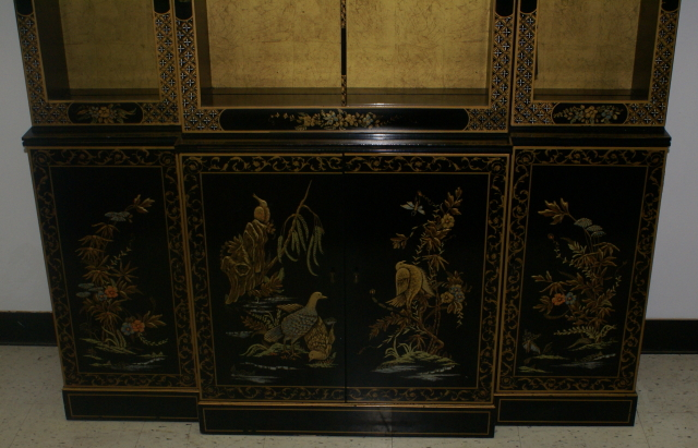 Asian Decorated Drexel Breakfront China Cabinet