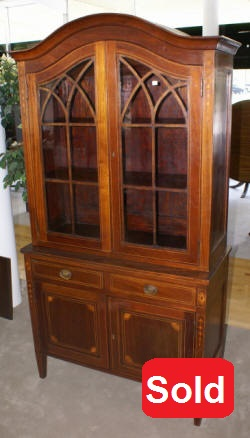 mahogany inlaid antique china cabinet