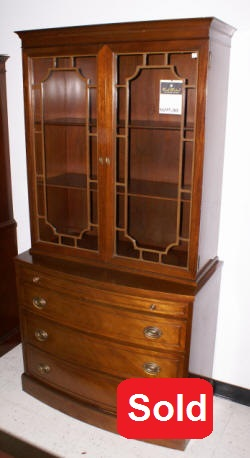 light red mahogany bow font china cabinet