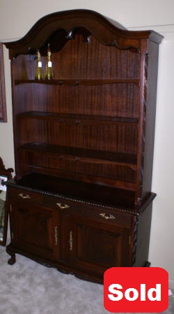 solid mahogany open top china cabinet