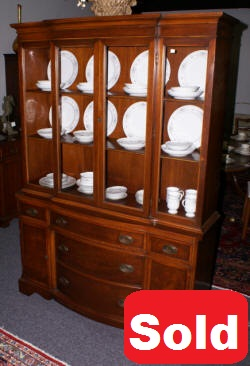 mahogany banded inlaid bow front china cabinet