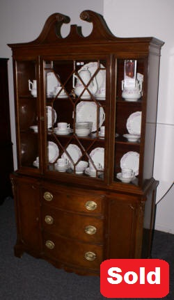 mahogany bow front china cabinet