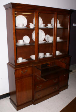 mahogany breakfront china cabinet with open glass top