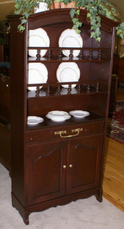 Country French dark mahogany open china cabinet