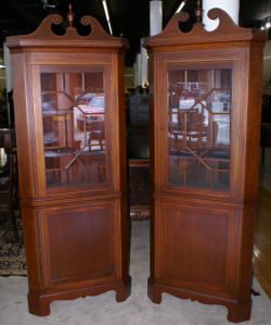 Pair of Biggs solid mahogany inlaid tall corner cabinet