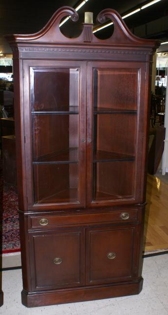 Beveled Glass Dark Mahogany Corner Cabinet