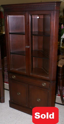 beveled glass dark mahogany corner cabinet