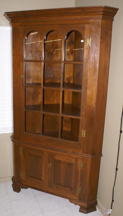 Solid walnut 2 piece cutom made corner cabinet