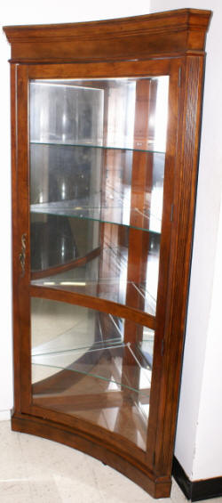 Lighted etched glass front corner curio cabinet