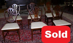 set of six dark mahogany antique dining room chairs