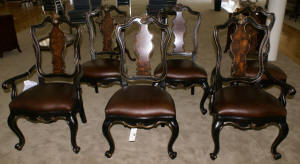 set of 6 Baker Chinese Chippendale dining room chairs