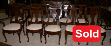 Set of four walnut French carved Jonathan Charles arm chairs