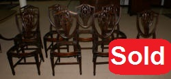 set of 8 solid mahogany shield back dining room chairs