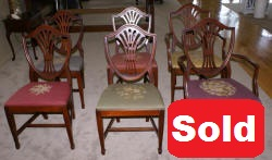 set of six sheild back dining room chairs