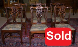 set of 6 Chippendale mahogany dining room chairs