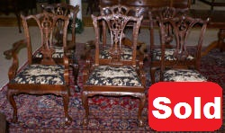 set of six solid mahogany dining room chairs