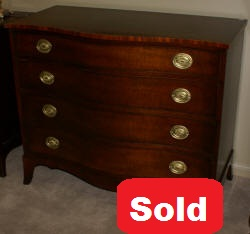 mahogany kindel serpentine front antique dresser