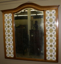 English tile beveled maple mirror