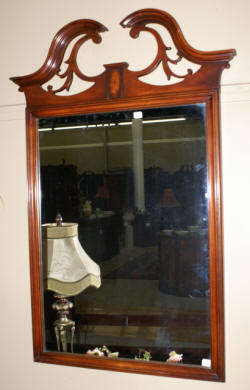 mahogany chippendale mirror with pierced carved top