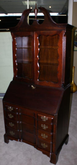 block front solid mahogany Chippendale secretary desk