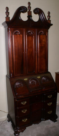 Mahogany Chippendale block front shell carved two piece blind door secretary desk