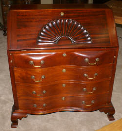 Ox bow front solid mahogany antique shell carved secretary desk