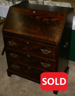 Banded inlaid mahogany Governor Winthrop desk
