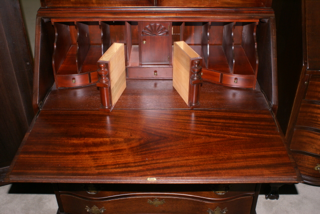 Serpentine Front Mahogany Antique Secretary Desk