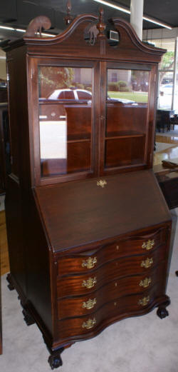 Mahogany Chippendale antique secretary desk