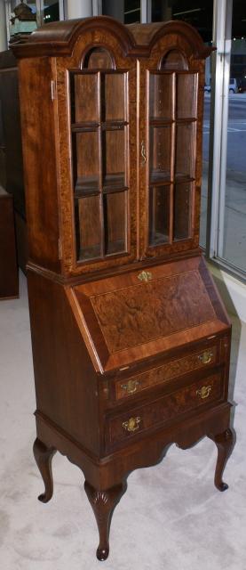 Double Bonnet Top Queen Anne Burl Walnut Inlaid Secretary Desk